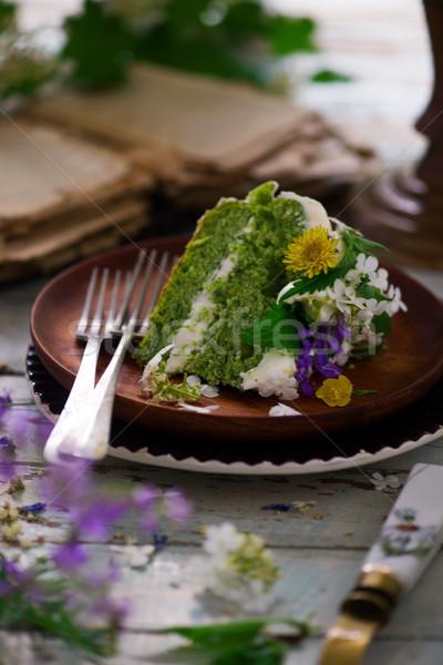 NETTLE AND LEMON CAKE WITH LEMON ICING.food gathering Stock photo © zoryanchik