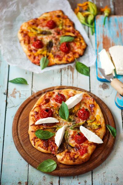 Pizza cukkini virágok felső kilátás szelektív fókusz Stock fotó © zoryanchik