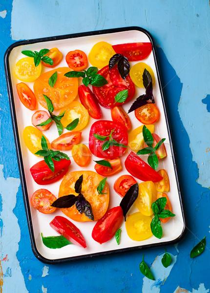 érett lédús paradicsomok citromsárga szelektív fókusz étel Stock fotó © zoryanchik