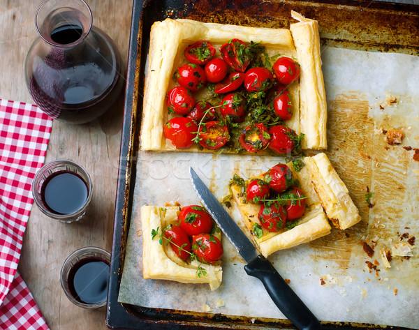 tart with cherry tomatoes and herbs Stock photo © zoryanchik
