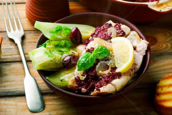 Olajbogyók édeskömény rusztikus étel hal zöld Stock fotó © zoryanchik