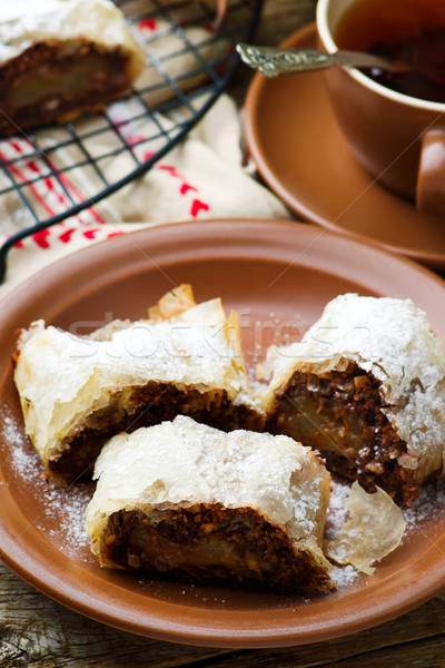 Pears and chocolate   strudel. .selective focus.  Stock photo © zoryanchik