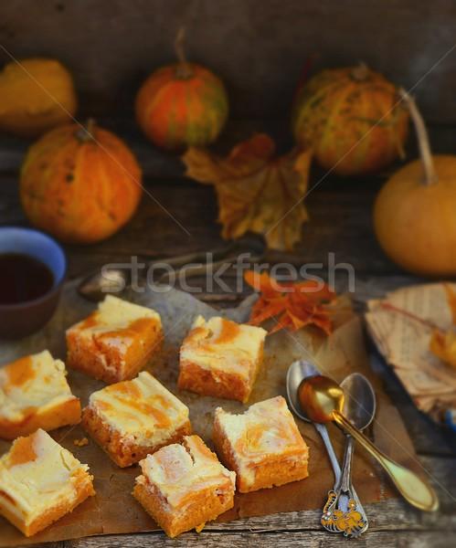 Pompoen taart room kaas najaar voedsel Stockfoto © zoryanchik
