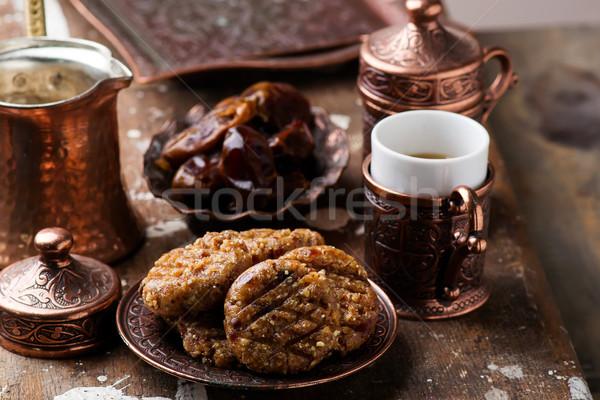 Fıstık ezmesi tarihleri rustik arka plan kahvaltı Stok fotoğraf © zoryanchik