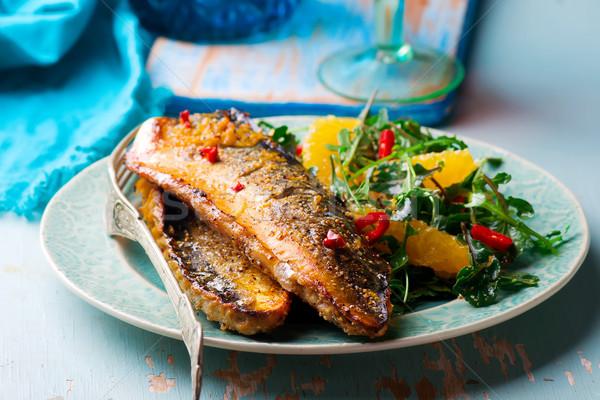 Grillezett makréla narancs rusztikus étel hal Stock fotó © zoryanchik