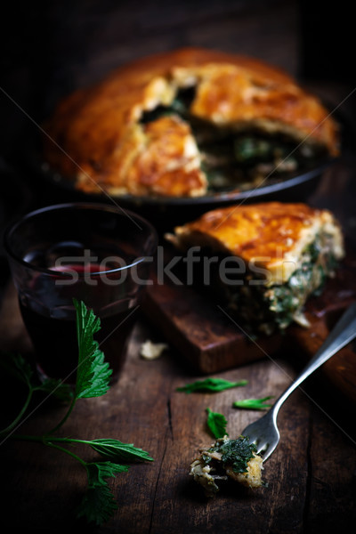 Chicken and nettle pie.style rustic Stock photo © zoryanchik