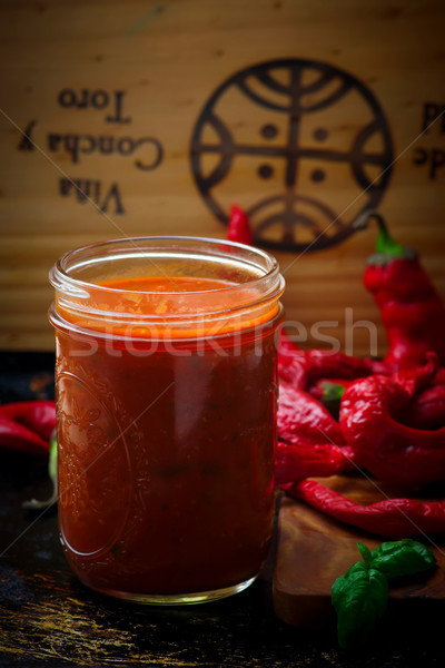 домашний пряный итальянский соус стекла банку Сток-фото © zoryanchik