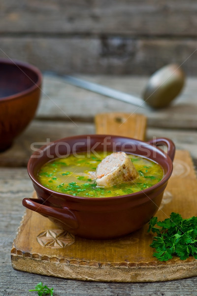 Brodo di pollo ripieno pollo collo cucina alimentare Foto d'archivio © zoryanchik