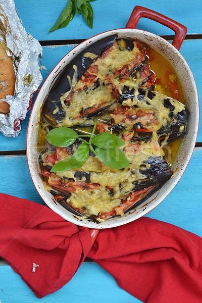 Berinjela azul cozinha verde prato Foto stock © zoryanchik