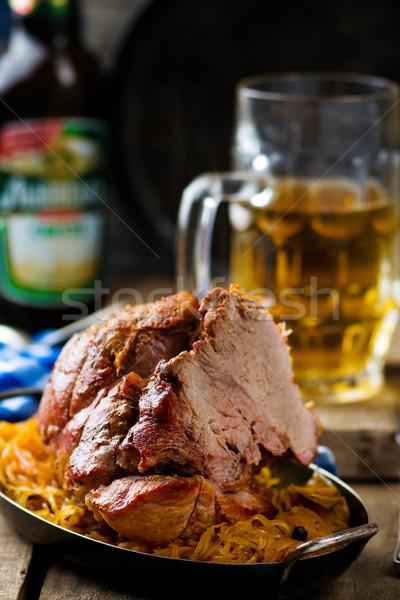 свинина кислая капуста пива фон пластина Сток-фото © zoryanchik