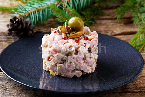 Salata mantar mayonez seçici odak gıda tablo Stok fotoğraf © zoryanchik