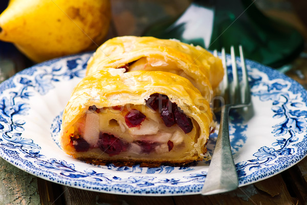 Pear and cranberry strudel .selective focus.  Stock photo © zoryanchik