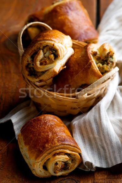 sardines and eggs puff pastry polls. Stock photo © zoryanchik