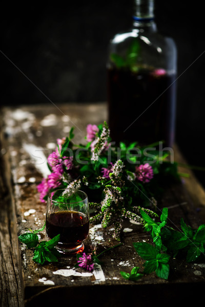 Bitter tincture with mint and clover.style rustic Stock photo © zoryanchik