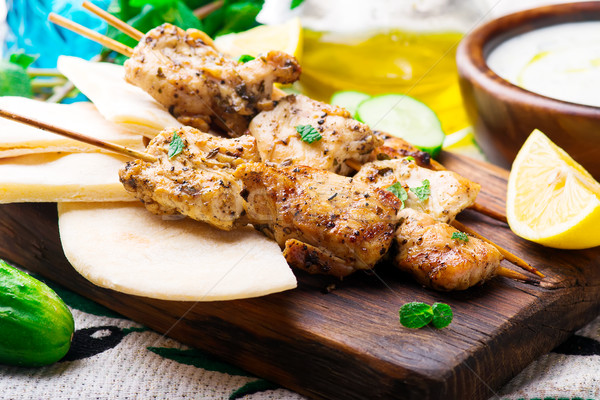 Chicken Souvlaki with pita and tzatziki Stock photo © zoryanchik
