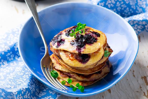 Kása palacsinták áfonya reggeli ebéd édes Stock fotó © zoryanchik