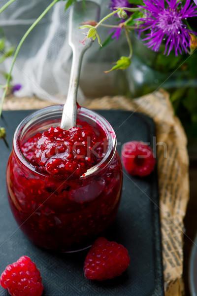 Homemade Easy Raspberry Filling in to the jar  Stock photo © zoryanchik