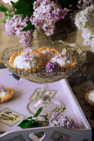 SOFT CAKE WITH WHITE CHOCOLATE RICOTTA AND ACACIA FLOWERS.style vintage.style rustic Stock photo © zoryanchik