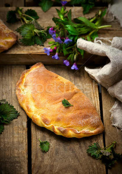 calzone with ricotta  and  nettle Stock photo © zoryanchik