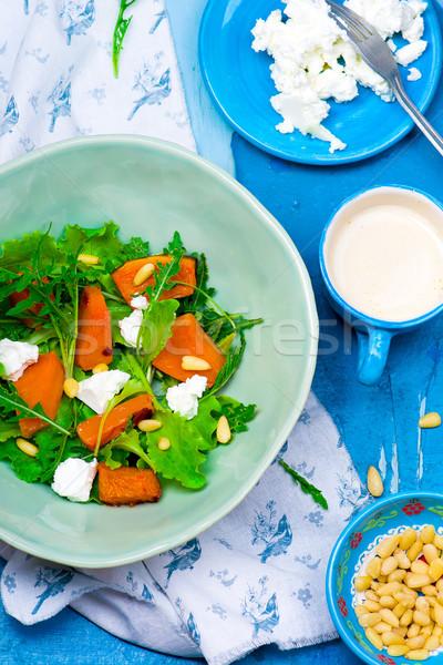 Stock fotó: Saláta · sütőtök · feta · egészséges · étel · stílus · klasszikus