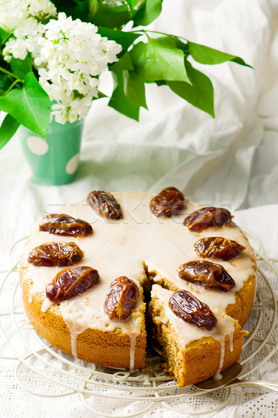 dates cake with glaze Stock photo © zoryanchik