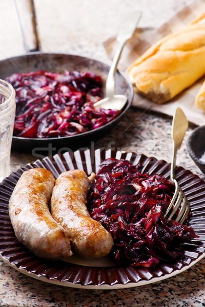 Sausage with Caramelized Radicchio and Onions.1 Stock photo © zoryanchik