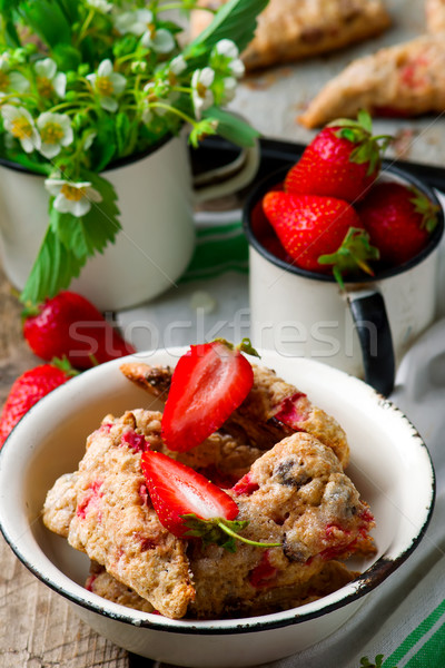 strawberry dark chocolate chunk wheat scones Stock photo © zoryanchik