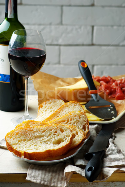 cheese, prosciutto, bread and red  wine. Stock photo © zoryanchik