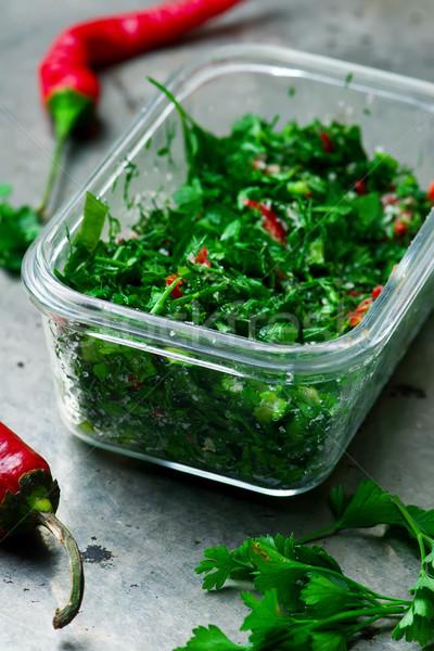 Green herb mix in glass box .selective focus Stock photo © zoryanchik