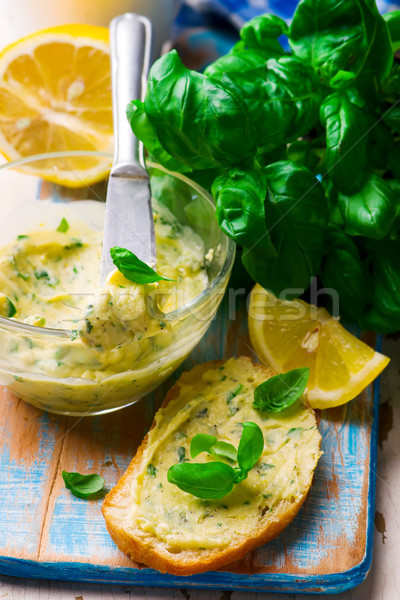 Butter with a basil and a lemon for sandwiches Stock photo © zoryanchik