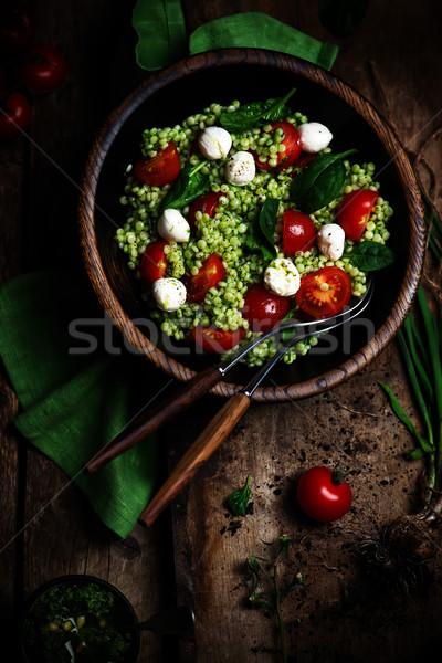 Zdjęcia stock: Izraelski · kuskus · Sałatka · pesto · żywności · ser