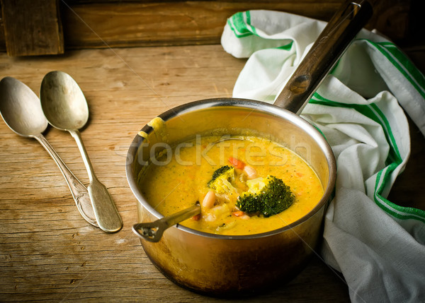 vegetable haricot and broccoli soup  Stock photo © zoryanchik