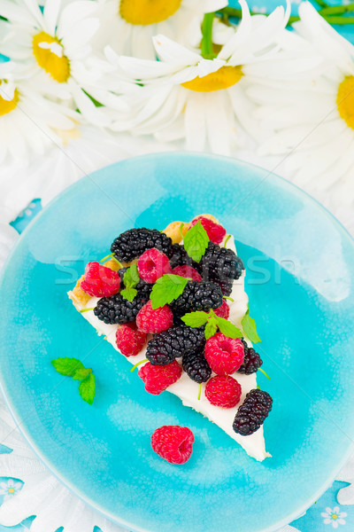 slice of a tart with fresh berries.  Stock photo © zoryanchik