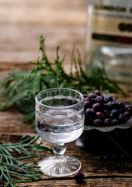 ジン ガラス ショット 選択フォーカス 木材 背景 ストックフォト © zoryanchik