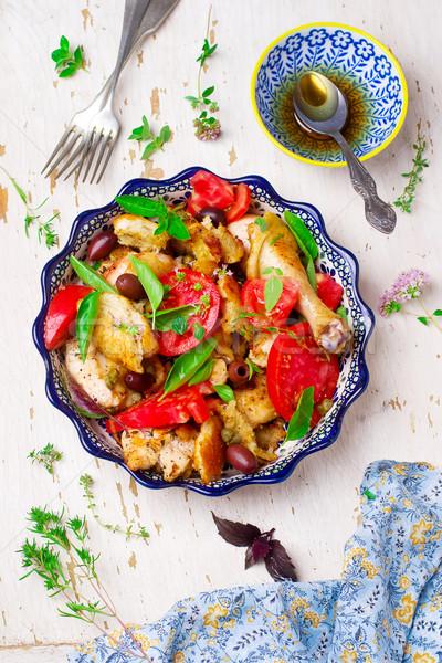 Chicken panzanella Stock photo © zoryanchik