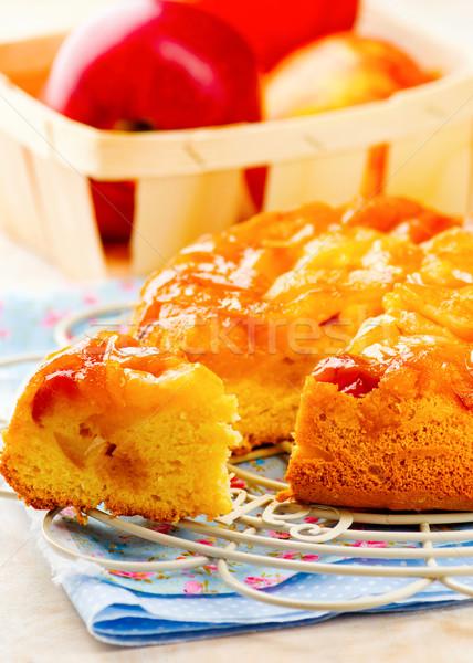 Eigengemaakt appel karamel appels taart selectieve aandacht Stockfoto © zoryanchik
