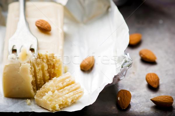 Darab marcipán közelkép szelektív fókusz desszert édes Stock fotó © zoryanchik