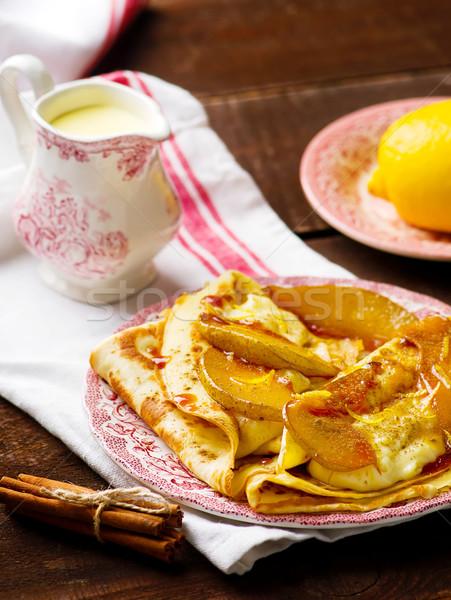 pancakes with pudding  and  caramel pears  Stock photo © zoryanchik