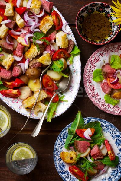 roast beaf  and potato warm salad Stock photo © zoryanchik
