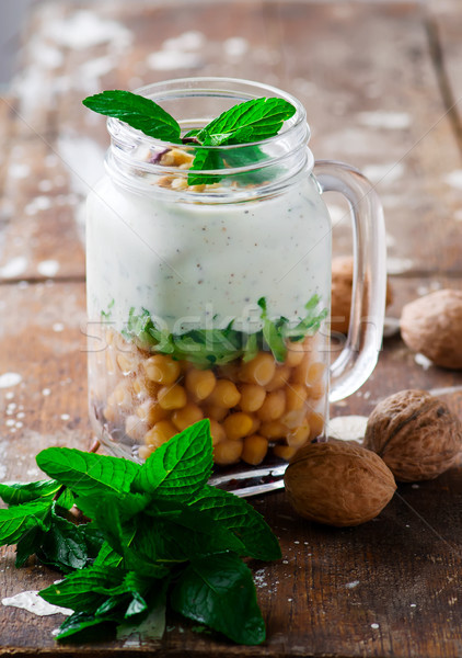 minty yogurt parfaits in the jar.style rustic. Stock photo © zoryanchik