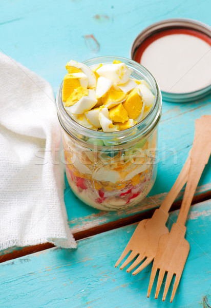 Crab stick salad in the maison  jar. Stock photo © zoryanchik