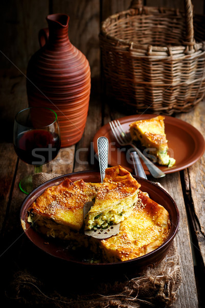 Sernik tradycyjny rustykalny pie stylu selektywne focus Zdjęcia stock © zoryanchik