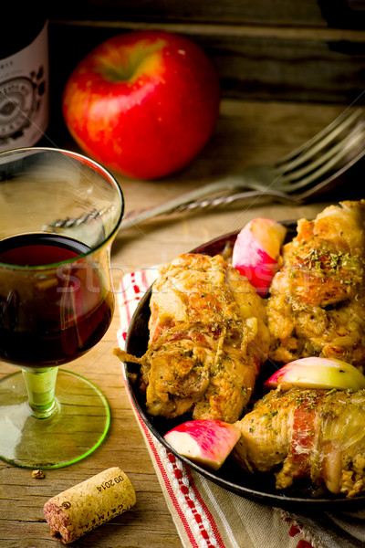 Stock photo: rolls from a turkey with apples.