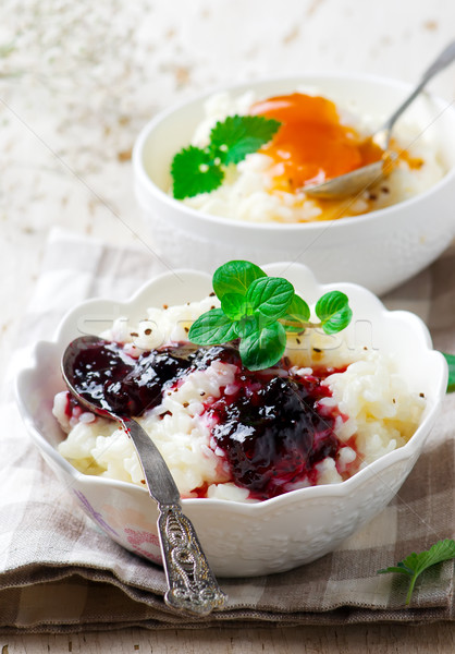 rice pudding with berries jam.selective focus Stock photo © zoryanchik