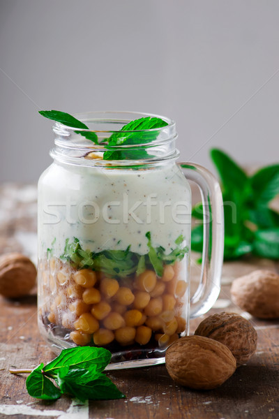 minty yogurt parfaits in the jar.style rustic. Stock photo © zoryanchik