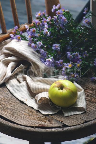 Outono natureza morta maçãs flores estilo foco Foto stock © zoryanchik