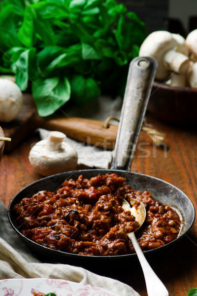 MUSHROOM and  WALNUT SPICY  BOLOGNESE Stock photo © zoryanchik