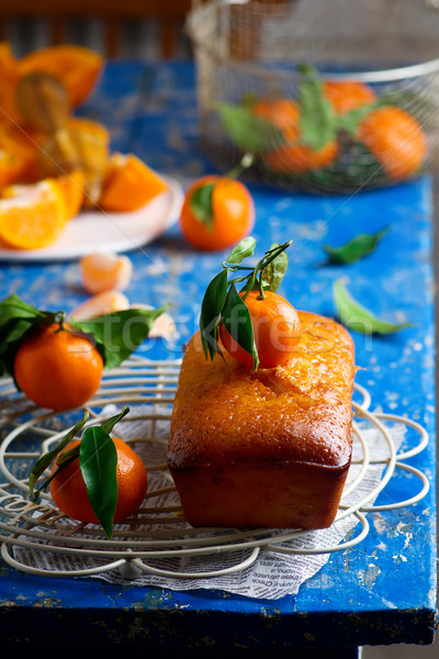 Tangerine glaze cake.selective focus Stock photo © zoryanchik