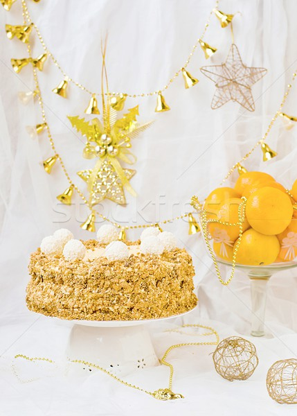 Nieuwe jaren taart feestelijk licht verjaardag Stockfoto © zoryanchik