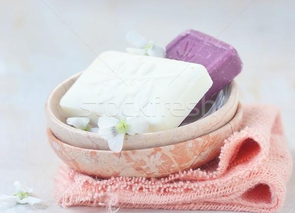 Turecki wykonany ręcznie oliwy mydło kamień puchar Zdjęcia stock © zoryanchik